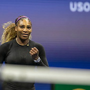 2019 US Open Tennis Tournament- Day Eleven.  Serena Williams of the United States celebrates her victory against Elina Svitolina of the Ukraine in the Women's Singles Semi-Finals match on Arthur Ashe Stadium during the 2019 US Open Tennis Tournament at the USTA Billie Jean King National Tennis Center on September 5th, 2019 in Flushing, Queens, New York City.  (Photo by Tim Clayton/Corbis via Getty Images)