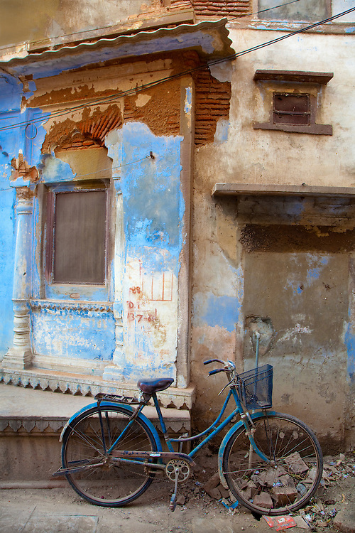 A Bicycle with A Basket and A Broken Front Wheel In Jodhpur, Rajasthan, India