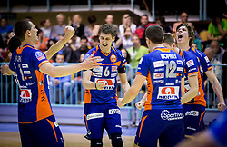 Players of ACH celebrate during volleyball game between OK Panvita Pomgrad and ACH Volley in Final of 1st DOL Slovenian National Championship 2014, on April 15, 2014 in Murska Sobota, Slovenia. ACH won 3-1 and became Slovenian Volleyball Champion 2014. Photo by Vid Ponikvar / Sportida