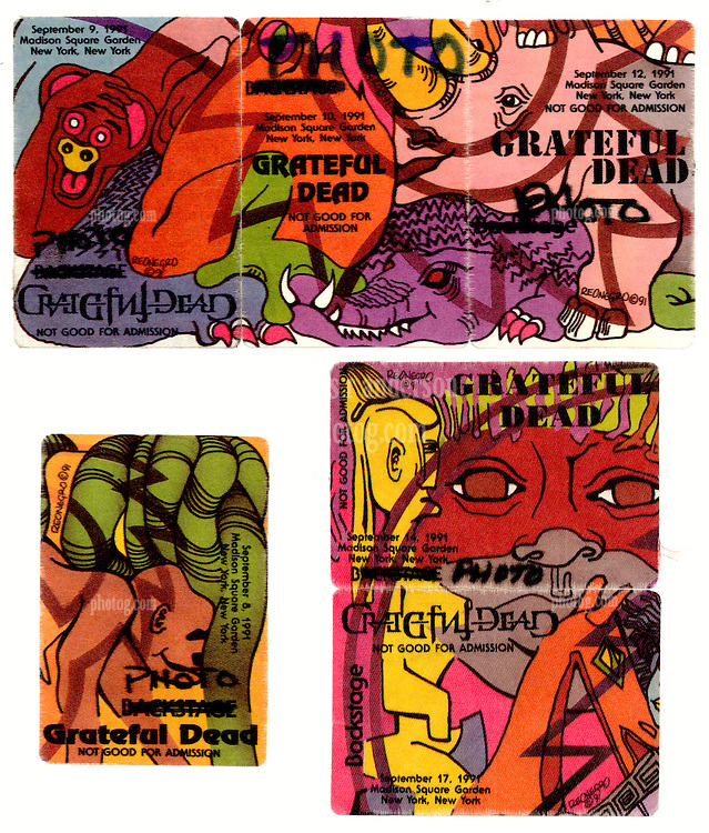 The Grateful Dead Backstage Passes Ganged Together from the Fall 1991 Tour