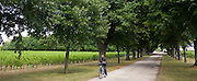 French woman cycling near Azay le Rideau, Loire Valley, France