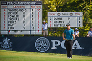 Paul Dunne (IRE) lines up his long putt on 9 during 2nd round of the 100th PGA Championship at Bellerive Country Club, St. Louis, Missouri. 8/11/2018.<br /> Picture: Golffile   Ken Murray<br /> <br /> All photo usage must carry mandatory copyright credit (© Golffile   Ken Murray)
