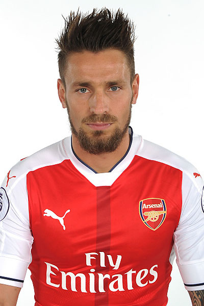 ST ALBANS, ENGLAND - AUGUST 03: (EXCLUSIVE COVERAGE) Mathieu Debuchy of Arsenal at the 1st team photocall at London Colney on August 3, 2016 in St Albans, England.  (Photo by Stuart MacFarlane/Arsenal FC via Getty Images)