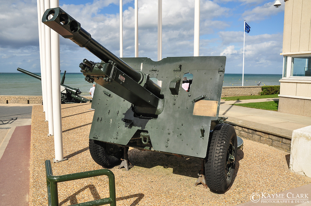 Musee du Debarquement (D-Day Museum) at Arromanches Beach is located in Normandy, France along the Atlantic Coast. It is famous for the more than 4,000 Allied ships that successfully landed onto the beach on June 6, 1944 (D-Day). Visitors can tour the Musee du Debarquement - D-Day Museum, which is located on this historic beach in the town of Arromanches-les-Bains.