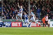 Bristol Rovers Lee Brown celebrates putting his team 2-0 ahead just before half time during the Sky Bet League 2 match between Bristol Rovers and Exeter City at the Memorial Stadium, Bristol, England on 23 April 2016. Photo by Shane Healey.