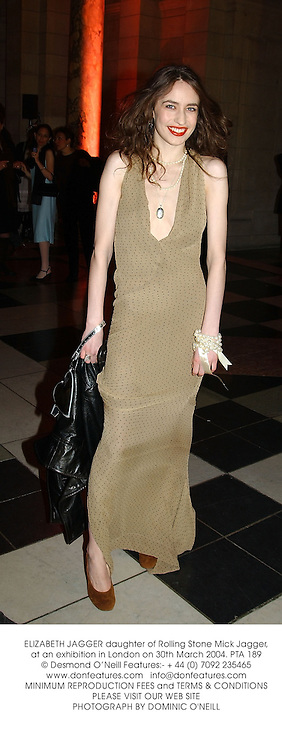 ELIZABETH JAGGER daughter of Rolling Stone Mick Jagger, at an exhibition in London on 30th March 2004.PTA 189