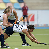 MONCHENGLADBACH - Junior World Cup<br /> Pool A: The Netherlands - USA<br /> photo: Terese Benvenuti drag flick.<br /> COPYRIGHT FRANK UIJLENBROEK FFU PRESS AGENCY
