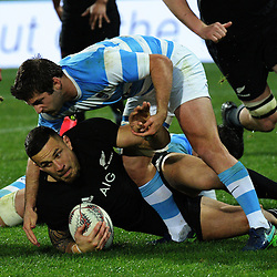 Sonny Bill Williams is tackled during the Rugby Championship match between the NZ All Blacks and Argentina Pumas at Yarrow Stadium in New Plymouth, New Zealand on Saturday, 9 September 2017. Photo: Dave Lintott / lintottphoto.co.nz