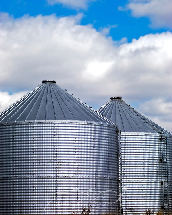Two grain silos are pictured on a farm, Feb. 12, 2006, in Panola, Alabama. (Photo by Carmen K. Sisson/Cloudybright)