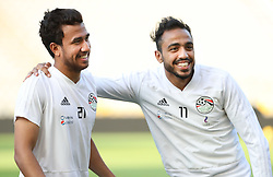 June 5, 2018 - Brussels, BELGIUM - Egypt's Trezeguet and Egypt's Kahraba pictured during a training session of the Egyptian national soccer team, Tuesday 05 June 2018, in Brussels. Egypt will play on Wednesday a friendly game against the Belgian national soccer team Red Devils to prepare the upcoming FIFA World Cup 2018 in Russia. BELGA PHOTO VIRGINIE LEFOUR (Credit Image: © Virginie Lefour/Belga via ZUMA Press)