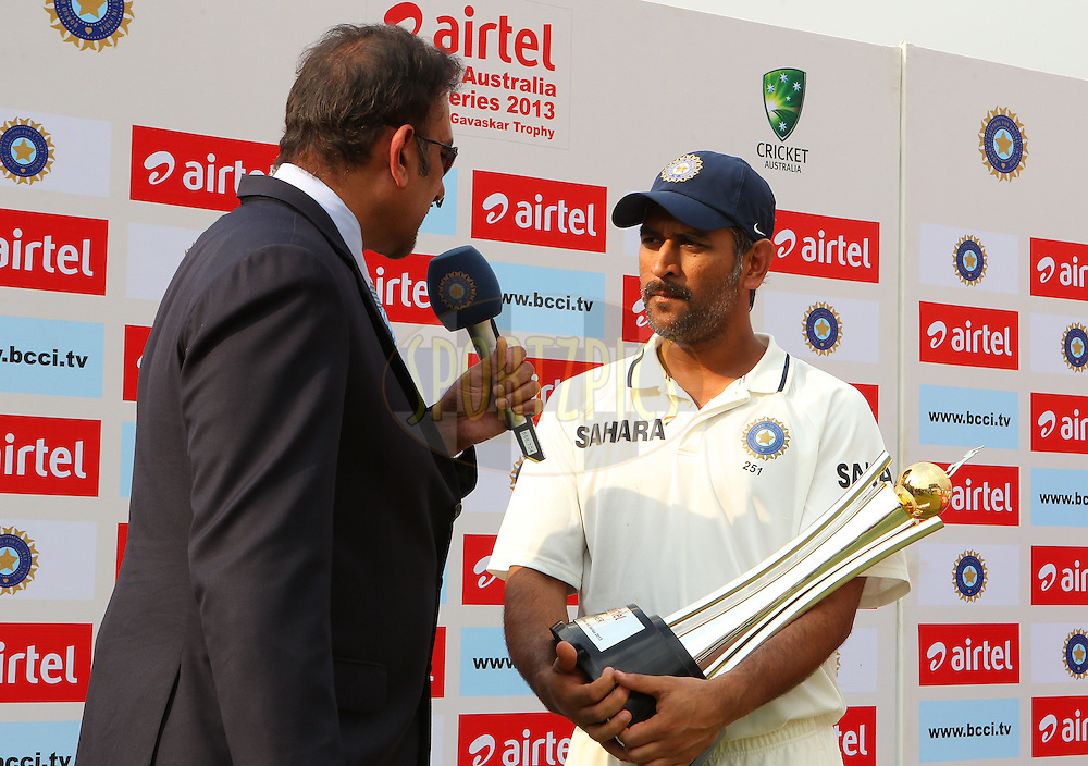 Ravi Shastri interviews MS Dhoni of India during day 3 of the 4th Test Match between India and Australia held at the Feroz Shah Kotla stadium in Delhi on the 24th March 2013..Photo by Ron Gaunt/BCCI/SPORTZPICS ..Use of this image is subject to the terms and conditions as outlined by the BCCI. These terms can be found by following this link:..http://www.sportzpics.co.za/image/I0000SoRagM2cIEc