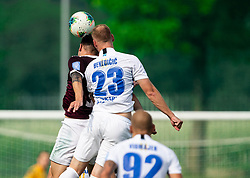 Tom Žurga of Triglav vs Zan Benedicic of Celje during football match between NK Triglav and NK Celje in 7th Round of Prva liga Telekom Slovenije 2019/20, on August 25, 2019 in Sports park, Kranj, Slovenia. Photo by Vid Ponikvar / Sportida