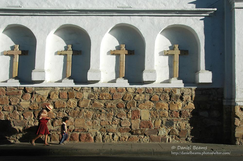 Children walking by Iglesia San Francisco, Sucre, Bolivia