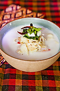 Vegetarian Citrus flavored coconut milk soup with lemongrass