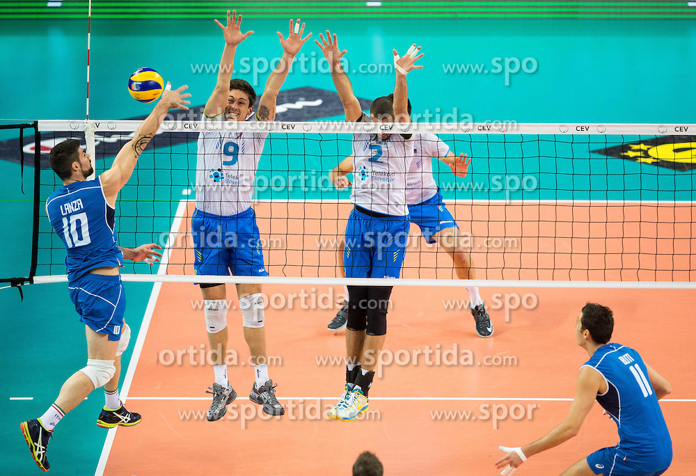 Filippo Lanza of Italy vs Dejan Vincic #9 of Slovenia and Alen Pajenk #2 of Slovenia during volleyball match between National teams of Slovenia and Italy in 1st Semifinal of 2015 CEV Volleyball European Championship - Men, on October 17, 2015 in Arena Armeec, Sofia, Bulgaria. Photo by Vid Ponikvar / Sportida