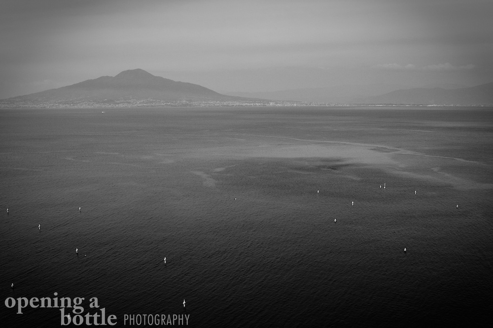 Black and white image of Mt. Vesuvius and the Bay of Naples as seen from Sorrento, Campania, Italy. Full-color image available upon request.