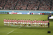 Team Japan during the Japan 2019 Rugby World Cup Pool A match between Japan and Russia at the Tokyo Stadium in Tokyo on September 20, 2019.