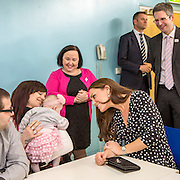 Her Royal Highness The Duchess of Cambridge chatting to parents and staff at Brookhill Children's Centre.  A Home-Start project that offers support to children and families. London, UK.