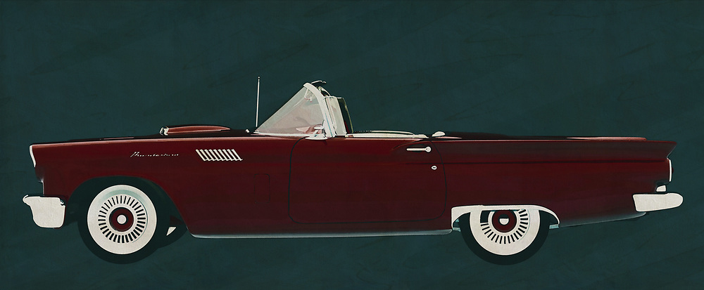 By bringing this painting by Ford Thunderbird Convertible from 1957 in the house brings it back to the 50's. This Ford Thunderbird breathes the American culture that characterizes this time and for or opponents will have in common that there is pure nostalgia of this Ford Thunderbird Convertible from 1957.<br /> <br /> This painting of a 1957 Ford Thunderbird Convertible can be printed very large on different materials. The work has a panoramic ratio and is very suitable to add a detail in a workspace, showroom or just at home that will impress your visitors. –<br /> <br /> BUY THIS PRINT AT<br /> <br /> FINE ART AMERICA<br /> ENGLISH<br /> https://janke.pixels.com/featured/ford-thunderbird-convertible-from-1957-brings-you-back-to-the-50-jan-keteleer.html<br /> <br /> WADM / OH MY PRINTS<br /> DUTCH / FRENCH / GERMAN<br /> https://www.werkaandemuur.nl/nl/shopwerk/Ford-Thunderbird-Convertible-1957/606106/132<br /> <br /> -
