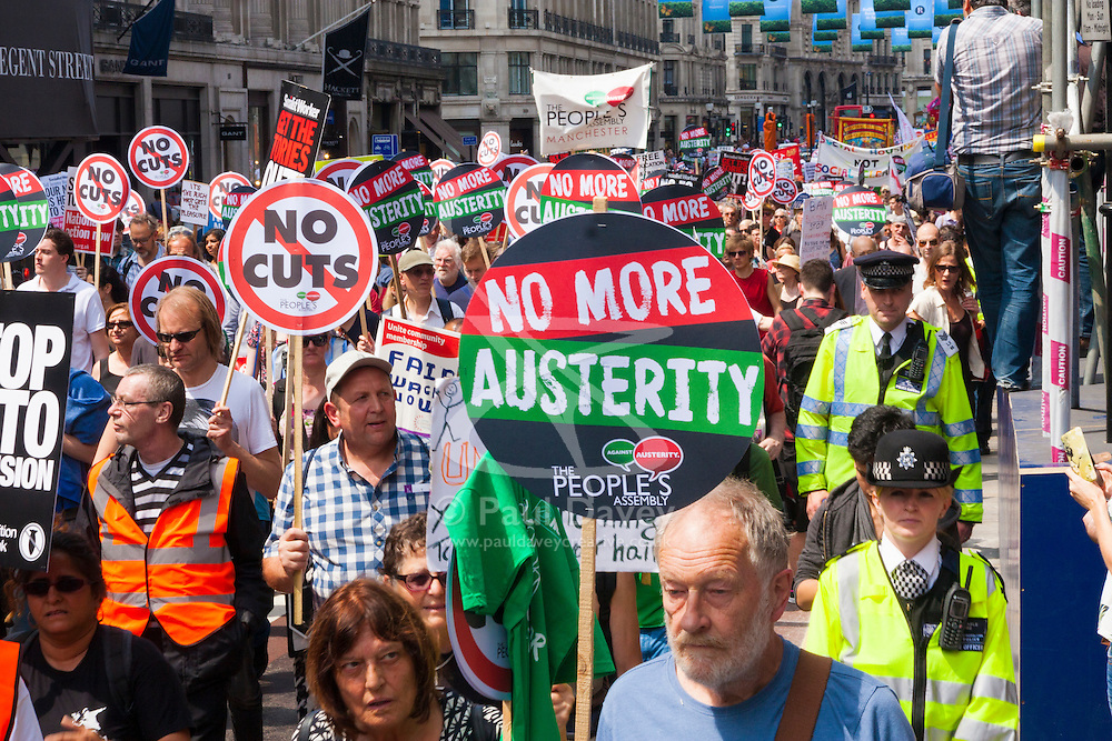 London, June 21st 2014. Thousands of anti-cuts protesters march down Regent Street in central London.
