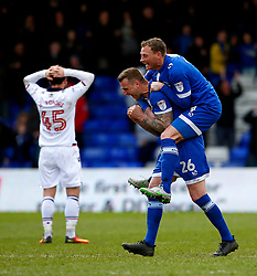 Peter Clarke of Oldham Athletic celebrates with his team mates after Lee Erwin scores the opening goal - Mandatory by-line: Matt McNulty/JMP - 15/04/2017 - FOOTBALL - Boundary Park - Oldham, England - Oldham Athletic v Bolton Wanderers - Sky Bet League 1
