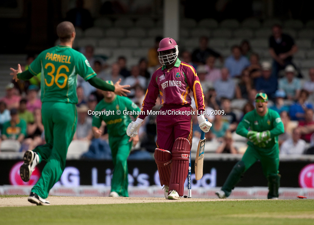 Andre Fletcher is bowled by Wayne Parnell during the ICC World Twenty20 Cup match between South Africa and West Indies at the Oval. Photo © Graham Morris (Tel: +44(0)20 8969 4192 Email: sales@cricketpix.com)