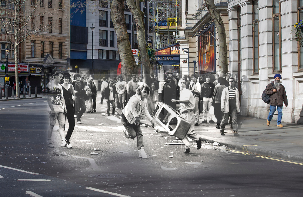 © Licensed to London News Pictures. 25/03/2020. London, UK. In this combined image a protester throws a traffic bollard towards police advancing up Charing Cross Road during the London poll tax riots on March 31st 1990 overlaid on the same location today. The protest on the last day of March in 1990 started peacefully when thousands gathered in a south London park to demonstrate against Margaret Thatcher's Government's introduction of the Community Charge - commonly known as the poll tax. Marchers walked to Whitehall and Trafalgar Square where violence broke out with the trouble spreading up through Charring Cross Road and on to the West End. Police estimated that 200,000 people had joined the protest and 339 were arrested. The hated tax was eventually replaced by the Council Tax under John Major's government in 1992.  Photo credit: Peter Macdiarmid/LNP