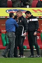 01.04.2012, SGL-Arena, Augsburg, GER, 1. FBL, FC Augsburg vs 1. FC Koeln, 30. Spieltag, im Bild Schlussjubel bei Geschaeftsfuehrer Andreas RETTIG (FC Augsburg), Trainer Jos LUHUKAY (FC Augsburg), Co-Trainer Markus GELLHAUS (FC Augsburg) und Torwarttrainer Zdenko MILETIC (FC Augsburg) v.l. // during the German Bundesliga Match, 30th Round between FC Augsburg and 1. FC Koeln at the Signal SGL-Arena Stadium, Augsburg, Germany on 2012/04/01. EXPA Pictures © 2012, PhotoCredit: EXPA/ Eibner/ Peter Fast..***** ATTENTION - OUT OF GER *****
