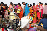 Hindu devotees are walking through a makeshift market near a bathing ghat (riverside) on the holy Ganges River during the yearly Sonepur Mela, Asia's largest cattle market, in Bihar, India.
