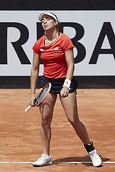 April 21, 2018 - La Manga, Murcia, Spain - Montserrat Gonzalez of Paraguay reacts in her match against  Garbine Muguruza of Spain during day one of the Fedcup World Group II Play-offs match between Spain and Paraguay at Centro de Tenis La Manga Club on April 21, 2018 in La Manga, Spain  (Credit Image: © David Aliaga/NurPhoto via ZUMA Press)