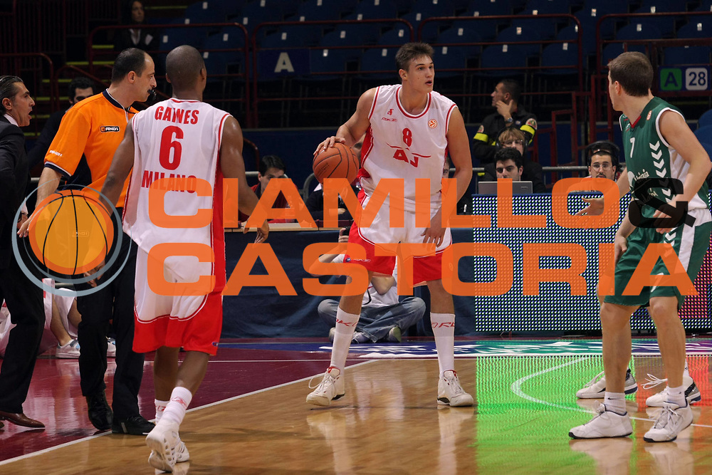 DESCRIZIONE : Milano Eurolega 2007-08 Armani Jeans Milano Unicaja Malaga <br /> GIOCATORE : Danilo Gallinari<br /> SQUADRA : Armani Jeans Milano<br /> EVENTO : Eurolega 2007-2008 <br /> GARA : Armani Jeans Milano Unicaja Malaga <br /> DATA : 08/11/2007 <br /> CATEGORIA : Palleggio<br /> SPORT : Pallacanestro <br /> AUTORE : Agenzia Ciamillo-Castoria/S.Ceretti