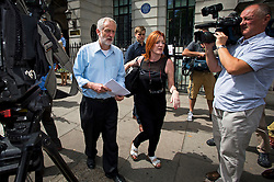 © Licensed to London News Pictures. 22/07/2015. London, UK. Labour leadership candidate JEREMY CORBYN MP TALKING TO MEDIA WHILE leaving the Royal College of Nursing in London after delivering a speech on the economy. Photo credit: Ben Cawthra/LNP