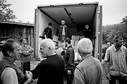 BiH, Visegrad, 2009. Distribution help for the Bosnian Muslim in Visegrad. Most Bosnian Muslim returnee population lives in extreme poverty in East Bosnia. Of the 14,500 Bosnian Muslims who lived in Visegrad before the war, 3,000 are now missing or dead