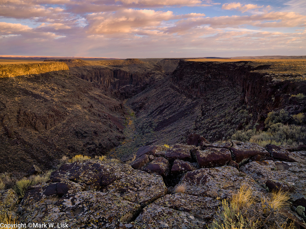 Sun bounces from the basalt cliff walls above Wickahoney Creek in the Owyhee Canyonlands, Idaho.