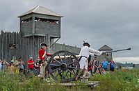 Cannon firing demonstration. Colonial Michilimackinac, Mackinaw City Michigan.