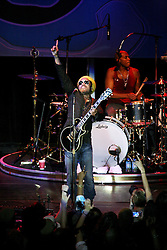 16 May 2010. New Orleans, Louisiana. <br /> Gulf Aid - a benefit festival for Louisiana fishermen and our coast.<br /> Lenny Kravitz in fine form rocks the event as he closes the show on the Wetlands indoor stage. <br /> Local musicians have gathered together in response to BP's massive oil spill in the Gulf of Mexico, threatening the very fabric of an entire region. All proceeds from the event will be used to support local fishing communities and the region.<br /> Photo credit;Charlie Varley/varleypix.com