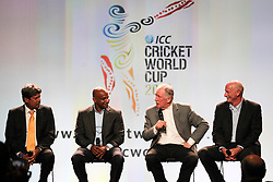 © Licensed to London News Pictures. 30/7/2013. Cricket legends Kapil Dev, Sanath Jayasuriya, Ian Chappell and Dennis Lillee (L to R)  during the official launch of the I.C.C Cricket World Cup to be held in Australia and New Zealand in 2015, Melbourne, Australia. Photo credit : Asanka Brendon Ratnayake/LNP