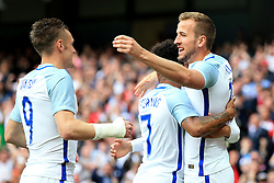 England's Harry Kane celebrates with Raheem Sterling and Jamie Vardy - Mandatory byline: Matt McNulty/JMP - 07966386802 - 22/05/2016 - FOOTBALL - Etihad Stadium -Manchester,England - England v Turkey - International Friendly