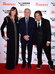 Jane Rosenthal, Robert de Niro and Al Pacino attending the Closing Gala and International premiere of The Irishman, held as part of the BFI London Film Festival 2019, London.