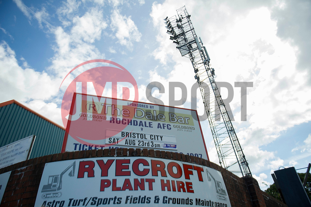 The Spotland Stadium  - Photo mandatory by-line: Dougie Allward/JMP - Mobile: 07966 386802 23/08/2014 - SPORT - FOOTBALL - Manchester - Spotland Stadium - Rochdale AFC v Bristol City - Sky Bet League One
