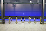 Heathrow Express station barrier architecture at Heathrow airport's terminal 5.