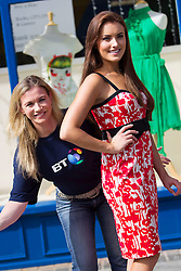 Repro Free: 03/09/2013 BT employee Anne Keirse and model Holly Carpenter check out the frugal fashion you can find in your local charity shop to launch the first ever, all-Ireland, Great BT Charity Shops Challenge with the Irish Cancer Society and Marie Curie Cancer Care.  The event sees over 170 BT Ireland staff take over the running of a charity shop on Thursday 3rd October. Remember our charity shops ~ Volunteer ~ Shop ~ Donate.  Visit www.cancer.ie/shops Picture Andres Poveda