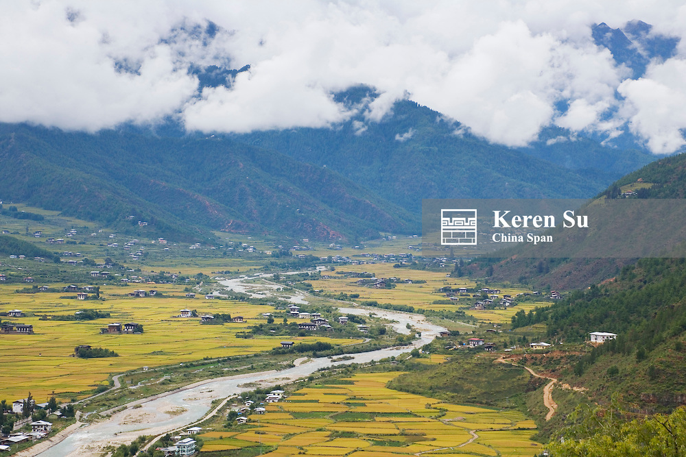 Landscape of Paro Valley, river through, Bhutan