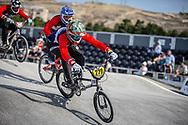 #279 during practice at the 2018 UCI BMX World Championships in Baku, Azerbaijan.