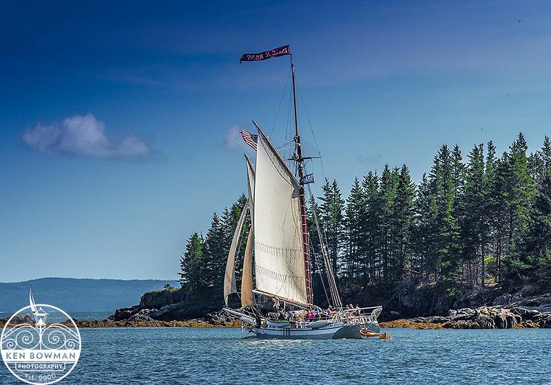 Issac H Evans Maine Windjammer under sail.