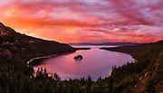 Beautiful sunset over Emerald Bay in Lake Tahoe, California