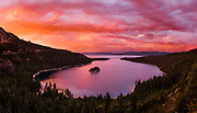 Beautiful sunset over Emerald Bay in Lake Tahoe, California