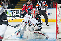 KELOWNA, CANADA - NOVEMBER 8: Payton Lee #1 of Vancouver Giants makes a save against the Kelowna Rockets  on November 8, 2014 at Prospera Place in Kelowna, British Columbia, Canada.   (Photo by Marissa Baecker/Shoot the Breeze)  *** Local Caption *** Payton Lee;