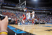 Anthony Davis #23, Marquis Teague #25 and Terrence Jones #3 of the Kentucky Wildcats defend against Scott Christopherson #11 of the Iowa State Cyclones during the third round of the NCAA men's basketball championship on March 17, 2012 at KFC Yum! Center in Louisville, Kentucky. Kentucky advanced with an 87-71 win. (Photo by Joe Robbins)