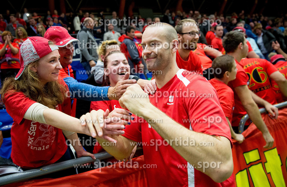 Emir Zimic of Tajfun with fans after winning during basketball match between KK Tajfun and KK Union Olimpija Ljubljana in 9th Round of ABA League 2015/16, on November 8, 2015 in Arena Golovec, Celje, Slovenia. Photo by Vid Ponikvar / Sportida